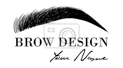 Image Brow Design Logo Modele De Carte Visite Avec Sourcil Dessin A La Main