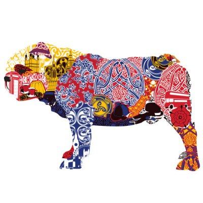 Image Bulldog anglais à des miniatures et des motifs symbolisant l'Angleterre