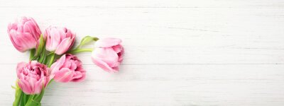 Image Bunch of pink tulips on white wooden background with copy space. Banner with spring flowers. Top view.