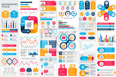 Image Bundle infographic elements data visualization vector design template. Can be used for steps, business processes, workflow, diagram, flowchart concept, timeline, marketing icons, info graphics.