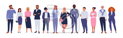 Image Business multinational team. Vector illustration of diverse cartoon men and women of various races, ages and body type in office outfits. Isolated on white.