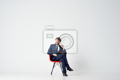 Image businessman sitting on office chair