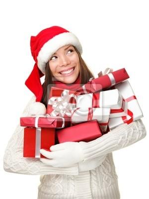 Cadeaux de Noël shopping girl pensée regardant vers le haut