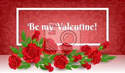Cadre De Saint Valentin Avec Fleur Rose Rouge Et Feuille Motif