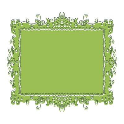 Cadre vert, floral, modèle