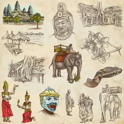 Image Cambodge - Une dessiné à la main illustrations. Pack Frehand.