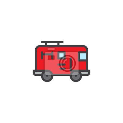 Image Camion De Pompier Rempli Icône Contour Signe De Vecteur De Ligne
