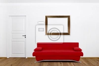 Image: Canapé rouge dans le salon