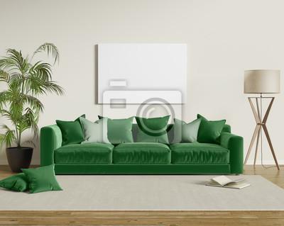 Image: Canapé velours vert dans un salon contemporain