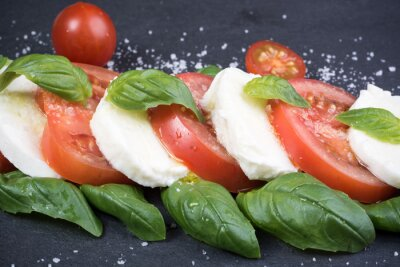 Image Caprese, salade, noir, ardoise, fond