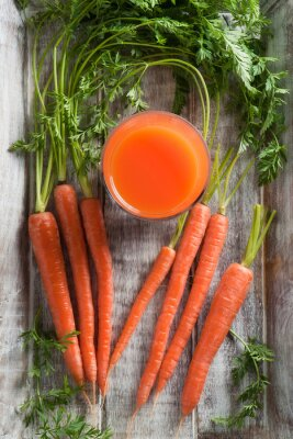 Image Carottes et jus de carottes. Sain, nourriture, carottes, carottes, jus, bois, fond