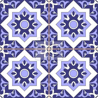 Image Carrelage Motif Ornemental Vecteur Transparent Bleu Et Blanc