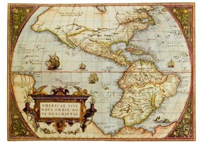 Image Carte antique des Amériques. Photo de la vieille reproduction