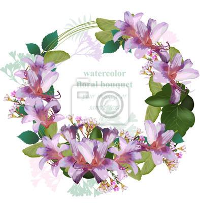 Carte De Couronne De Beaute Fleur Tropicale Aquarelle Vector