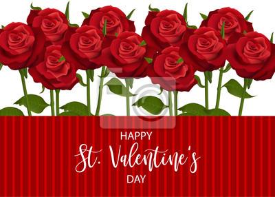 Carte De Jour St Valentin Rose Rouge Realiste Bouquet De Fleurs