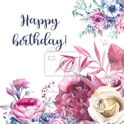 Carte De Joyeux Anniversaire Avec Bouquet De Fleurs Daquarelle Peintures Murales Tableaux Corsage Belle Pivoine Myloview Fr