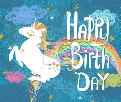 Carte De Joyeux Anniversaire Avec La Licorne Mignonne De Bebe Peintures Murales Tableaux Licorne Cornes Optimiste Myloview Fr
