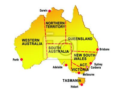 Carte Australie Grande Ville.Carte De Laustralie Montrant Huit Etats Grandes Villes Peintures