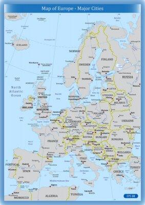 Image Carte de l'Europe - les grandes villes