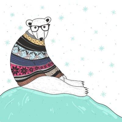 Image Carte de Noël avec l'ours polaire mignon hippie. Ours avec Fair Isle