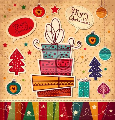 Carte de Noël de cru avec des coffrets cadeaux