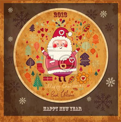 Carte de Noël de cru avec le Père Noël