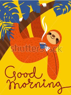 Image Carte de vecteur avec caractère mignon et tasse à café et paresse. Bonjour affiche.