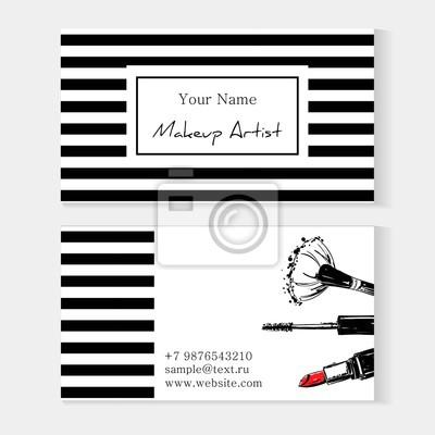 Image Carte De Visite Modele Maquillage Fond Raye Avec Rouge A Levres Brosse Pour