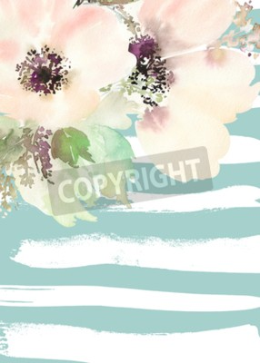 Image Carte de voeux aux fleurs. Couleurs en pastel. Fait main. La peinture à l'aquarelle. Mariage, anniversaire, fête des mères. Douche nuptiale.
