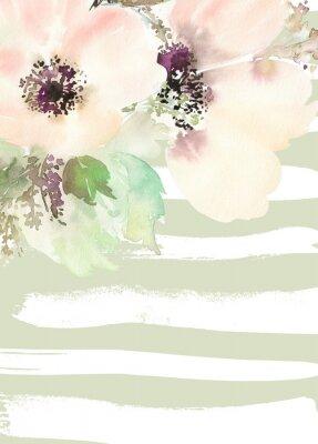 Image Carte de voeux avec des fleurs. Couleurs pastel. Fait main.
