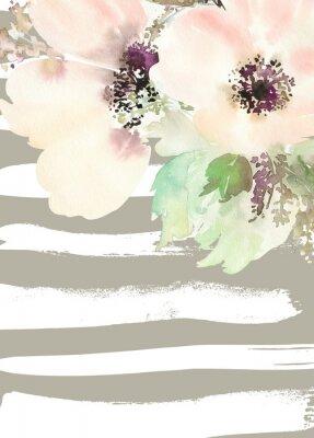 Image Carte de voeux avec des fleurs. Couleurs pastel. Fait main. La peinture à l'aquarelle. Mariage, anniversaire, fête des mères. Douche nuptiale.