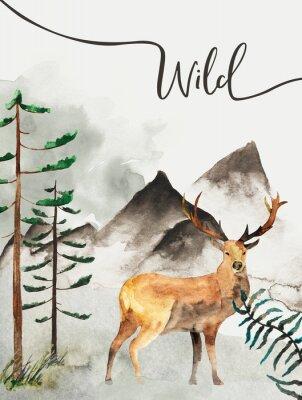 Image Carte de voeux avec fond de forêt et de montagnes. Thème des enfants. Carte postale avec cerf. Faune