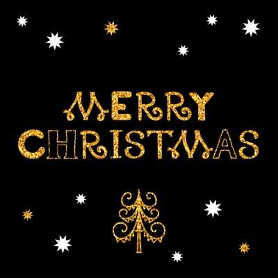 Carte de voeux joyeuse Noël vacances avec étoiles dorées, flocons de neige, sapin