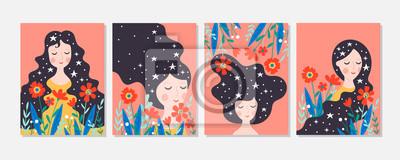 Image Carte de voeux mignonne journée des femmes sertie de jeune femme et de fleurs.