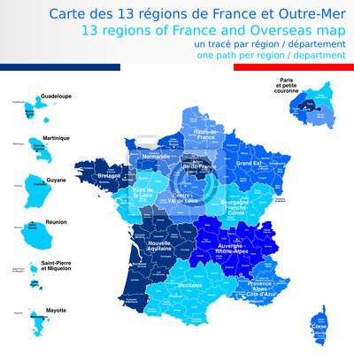 Carte Des 13 Regions De France Et Outre Mer Avec Le Nom Des Regions Peintures Murales Tableaux Departemental 13 Region Myloview Fr