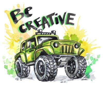 Image Carte dessinée à la main avec une grande voiture et un lettrage. Les mots sont créatifs. Aquarelle multicolore illustration. Sport folle et actif. Transport.