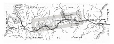 Image Carte du canal de Panama, illustration gravée vintage. Encyclopédie industrielle E.-O. Lami - 1875.