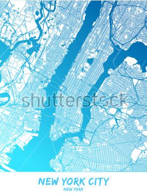 Image Carte du centre-ville et des environs de New York dans la version bleue avec de nombreux détails. Cette carte de la ville de New York contient des points de repère typiques avec la place pou