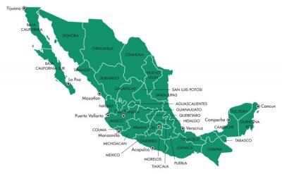 Image Carte du Mexique avec les États et les villes