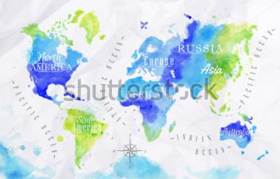Image Carte du monde aquarelle dans les couleurs vertes et bleus sur un fond de papier froissé