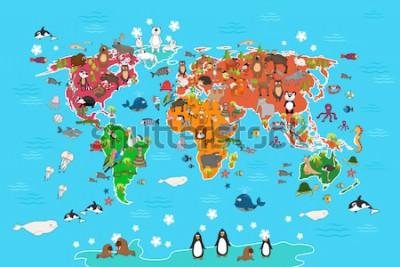 Image Carte du monde avec des animaux. Singe et hérisson, ours et kangourou, loup, loup, pandas, manchots et perroquets. Illustration vectorielle d'animaux monde carte style cartoon