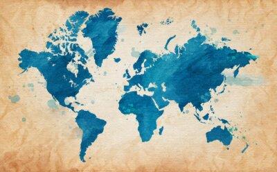 Image carte du monde avec un fond texturé et les taches d'aquarelle