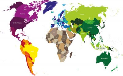 Image carte du monde coloré par continents