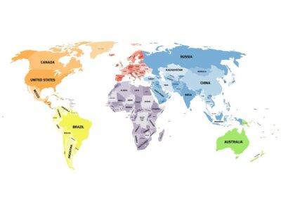 Image Carte du monde politique sur fond blanc.