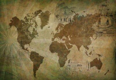 Image carte du monde Voyage antique