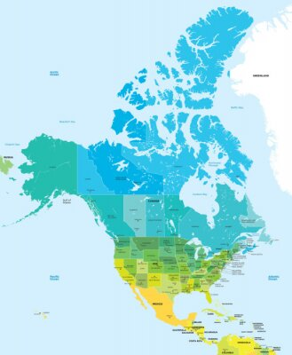 Image Carte en couleur des Etats-Unis et au Canada