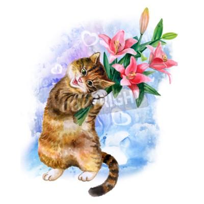 Image Carte mignonne d'aquarelle avec le chat et les fleurs isolées sur fond bleu avec des coeurs. Joli chaton aux lys. Idéal pour le jour de Valentin, anniversaire, invitation de mariage affiche. Magnifiqu