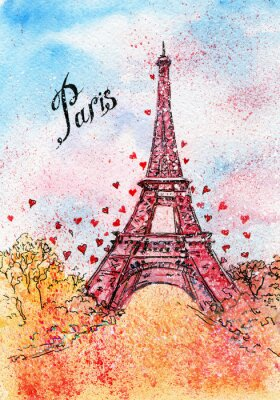 Image Carte postale ancienne. Illustration d'aquarelle. Paris, France, Tour Eiffel