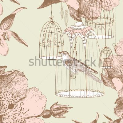 Image carte vintage avec un oiseau dans la cage