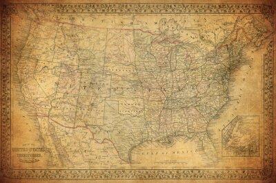 Image Carte vintage de 1867 aux États-Unis